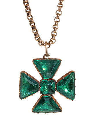 Georgian Emerald Paste Maltese Cross