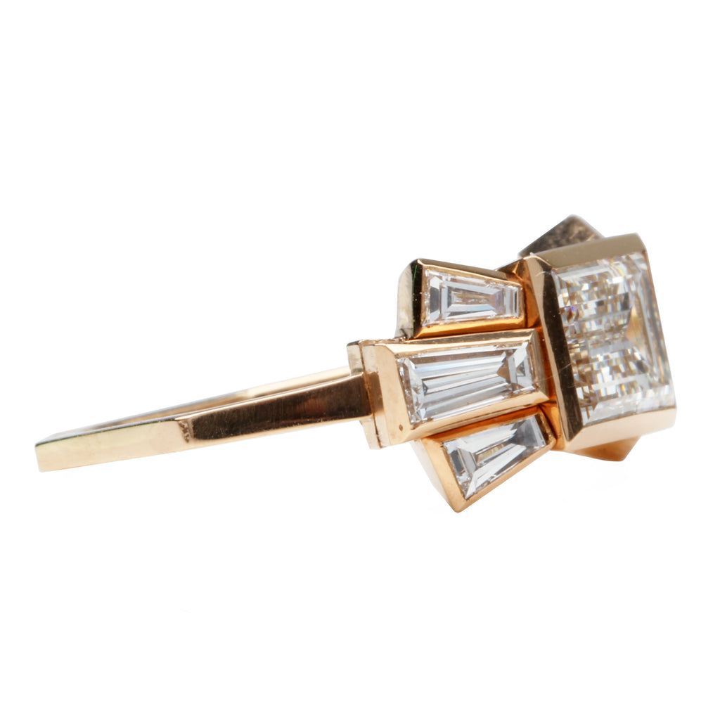 Bell and Bird 7 Stone Emerald Cut Diamond Ring