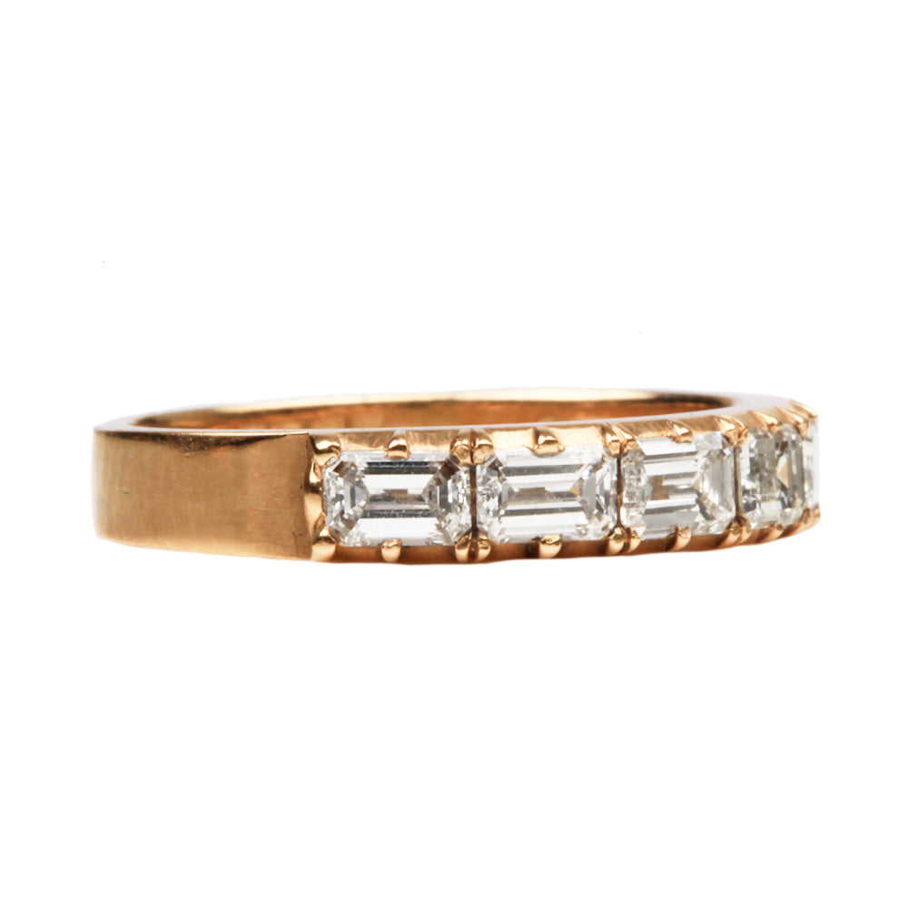 Signature Cutaway Emerald Cut Diamond Half Hoop Band