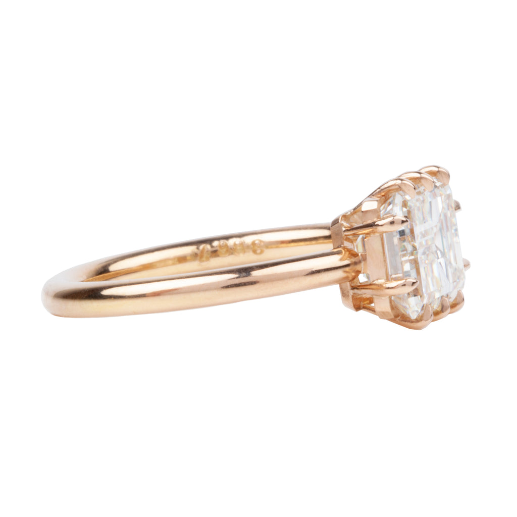 East/West Emerald Cut Diamond Solitaire Ring