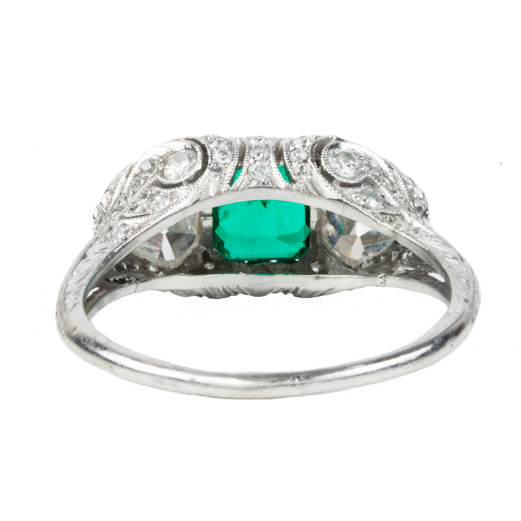 Edwardian Era Emerald and Diamond Ring in Platinum