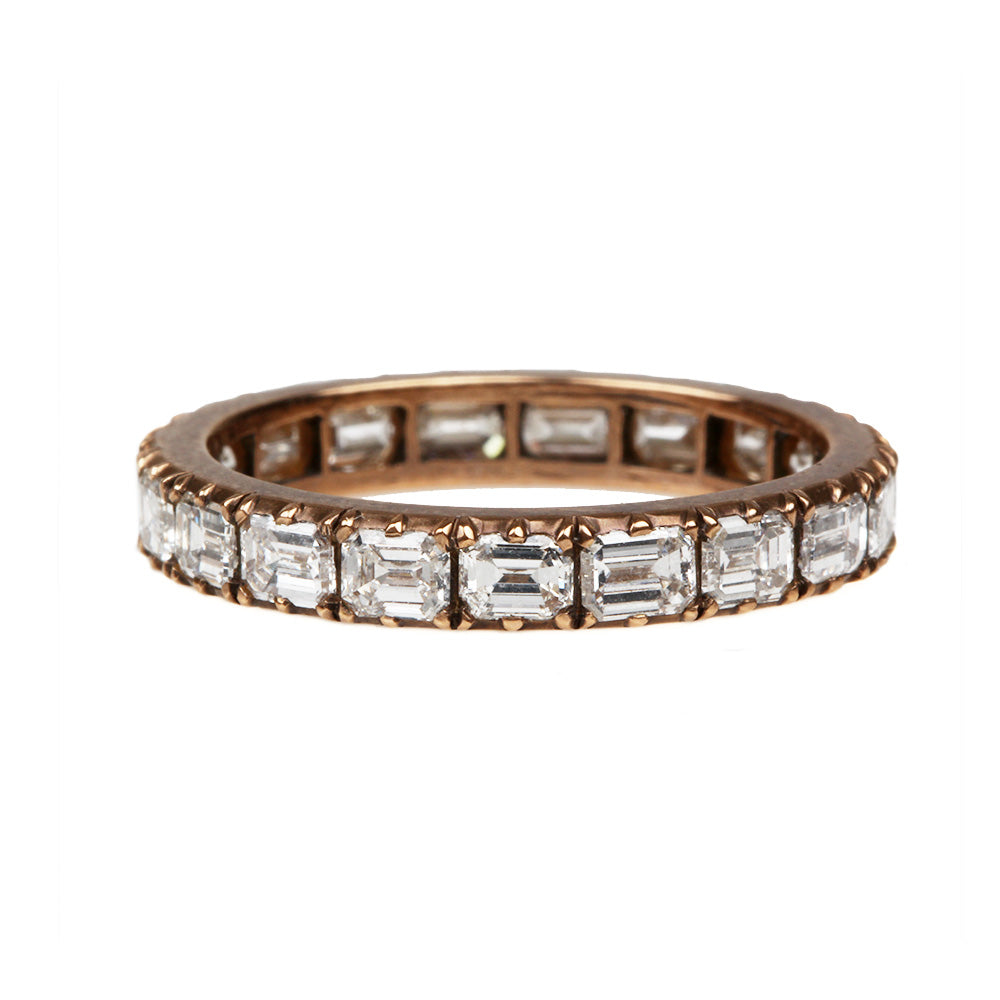 Signature Cutaway Emerald Cut Diamond Eternity Band