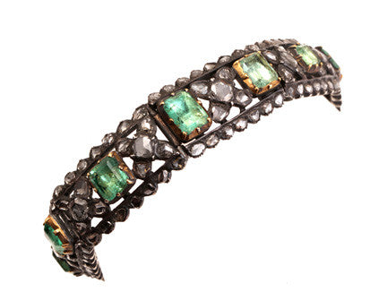 19th Century Emerald and Rose Cut Diamond Bracelet