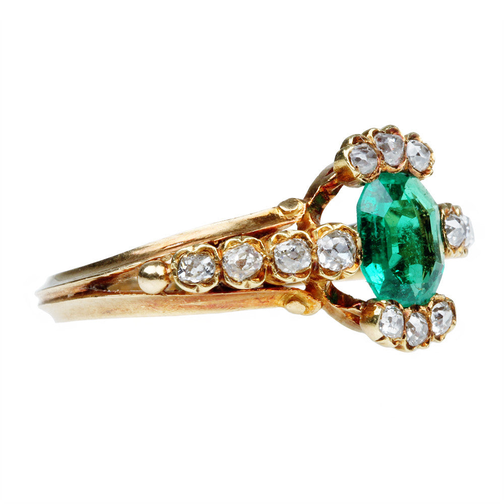 19th Century Emerald and Old Mine Cut Diamond Ring