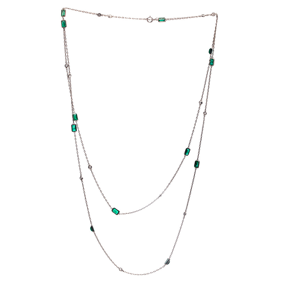 Mid Century Emerald and Diamond Chain