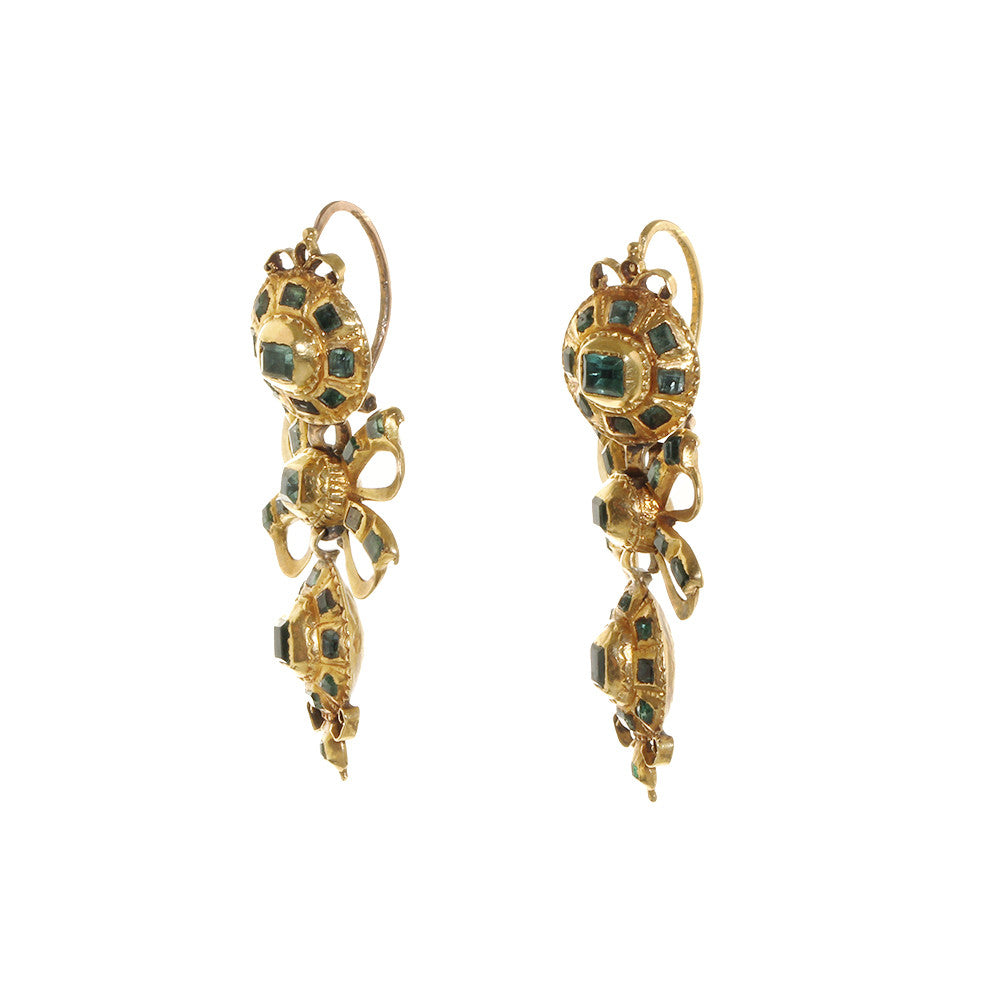 Early 19th Emerald Pendeloque Earrings