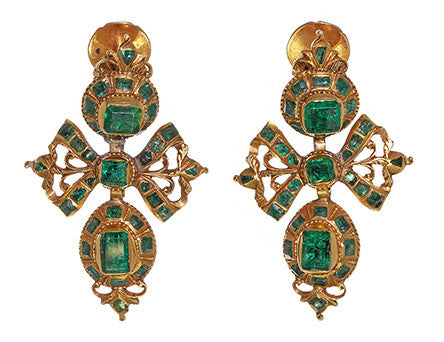 18th Century Spanish Gold and Emerald Earrings