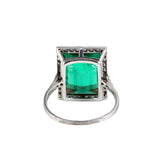 Edwardian Platinum Emerald and Diamond Ring