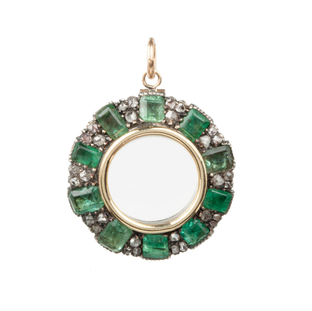 Early Victorian Emerald and Rose Cut Diamond Locket with Glazed Panel
