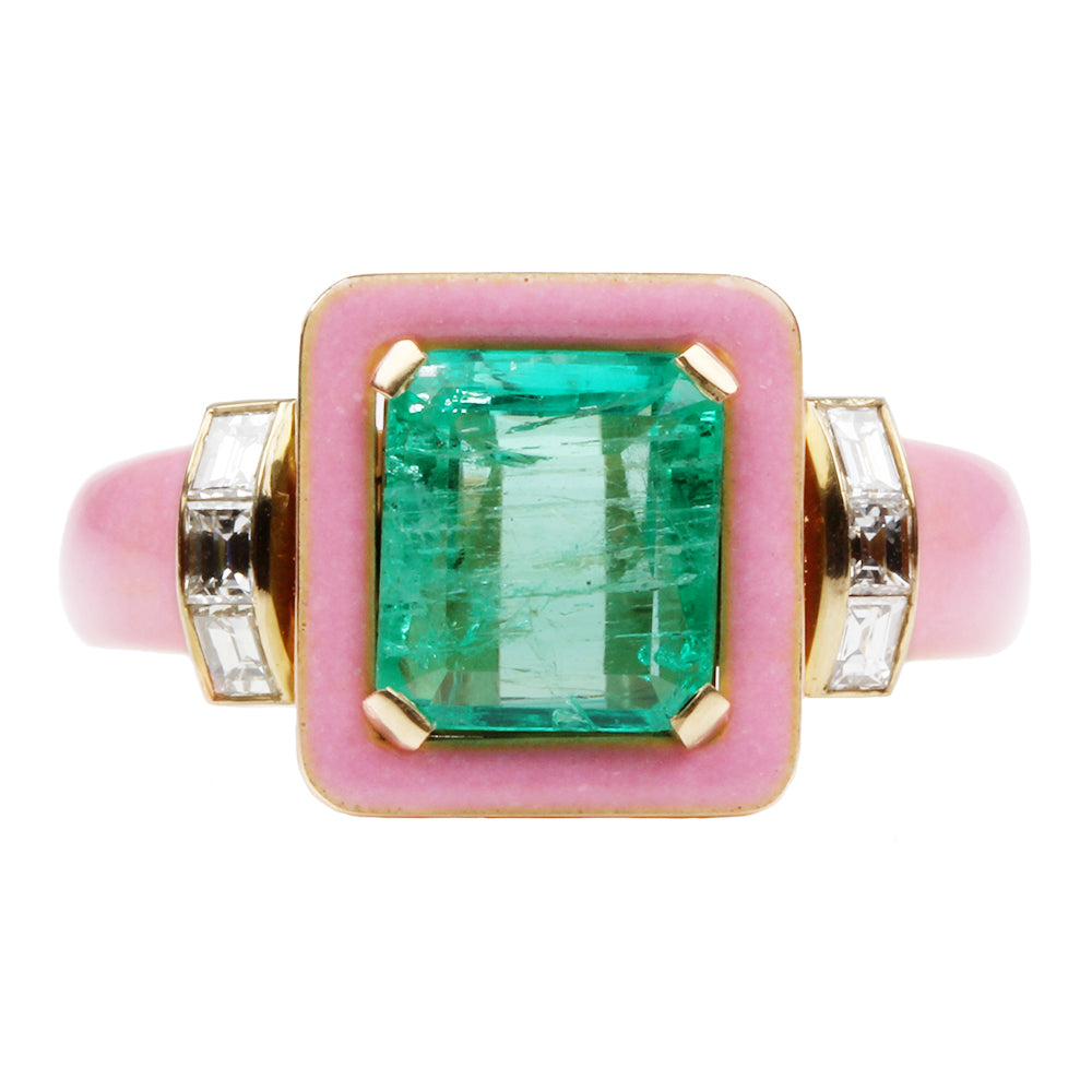Custom Emerald and Pink Enamel Ring