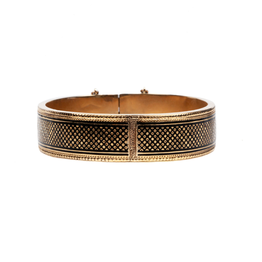 Victorian Era Late 19th Century Gold Bangle with Dotted Black Enamel Detail