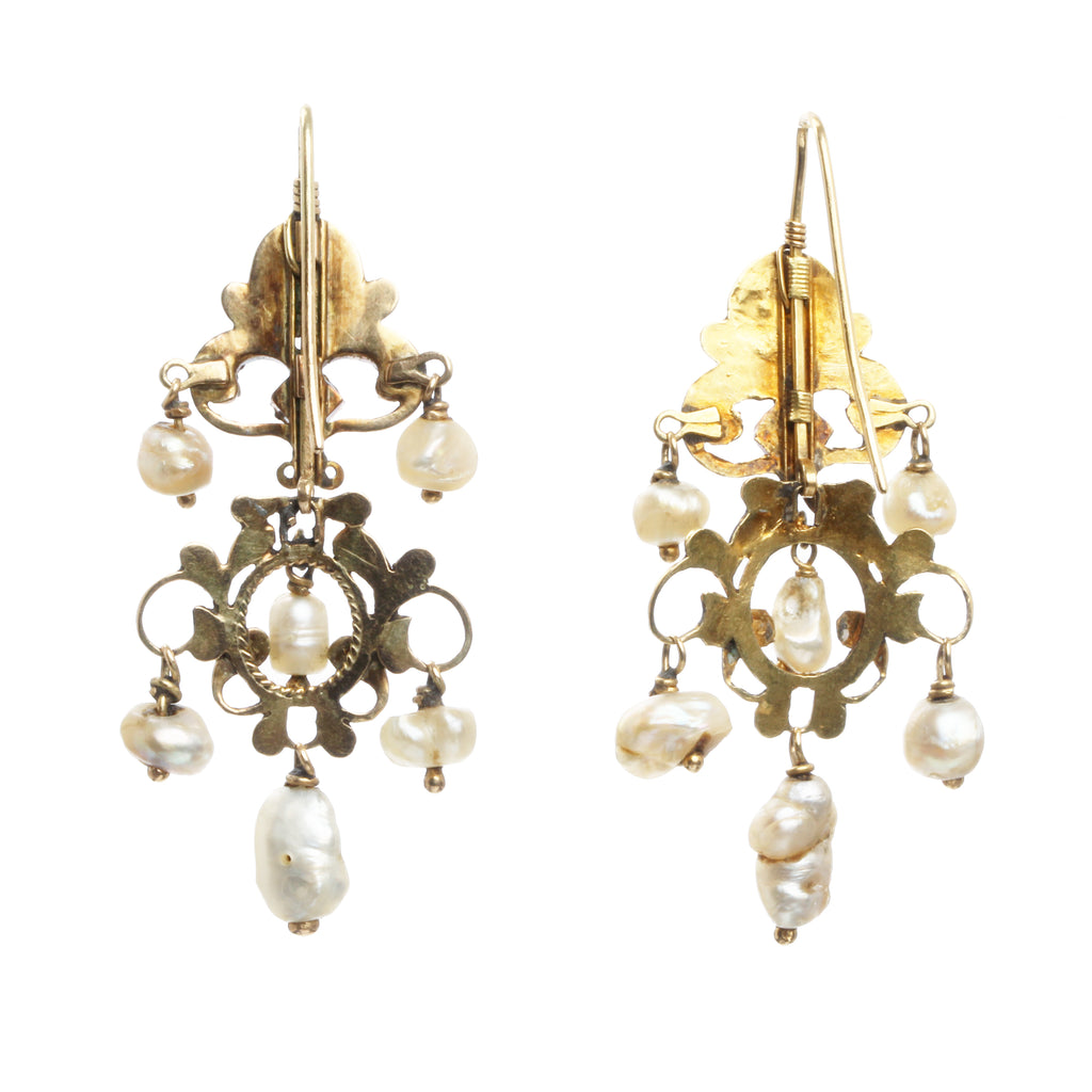 Renaissance Revival Pearl, Enamel and Diamond Girandole Earrings