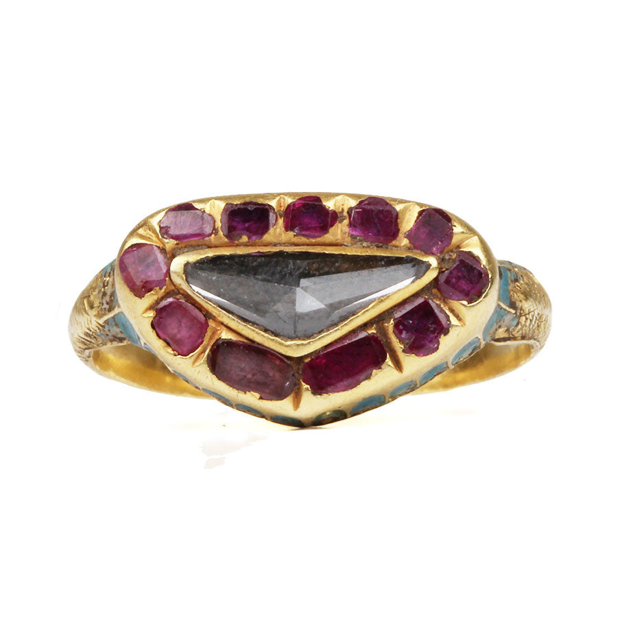 Early Diamond and Ruby Ring