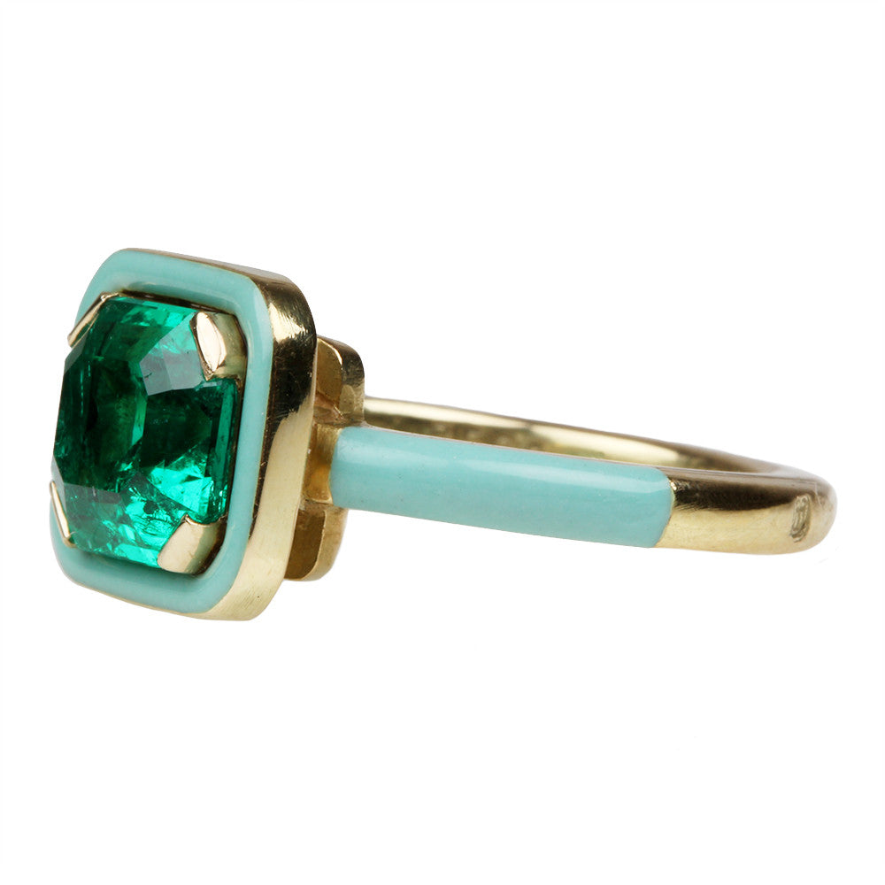 Custom Colombian Emerald and Mint Enamel Ring