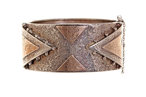 English Sterling and Rose Gold Bangle
