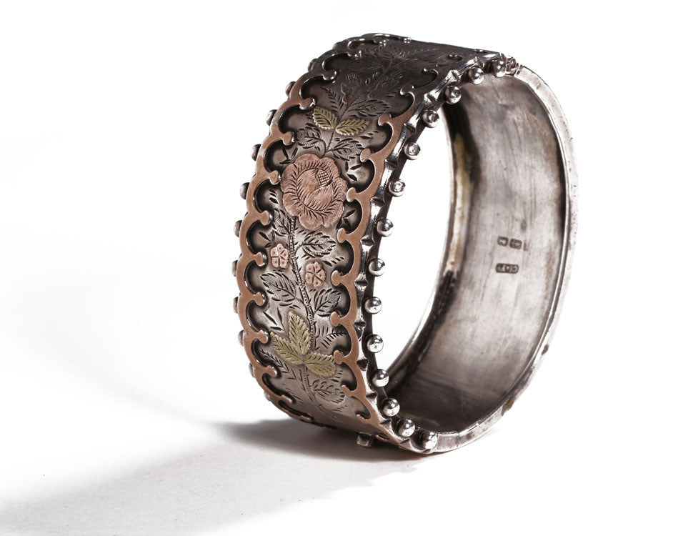 English Sterling & Rose Gold Bangle Circa 1883
