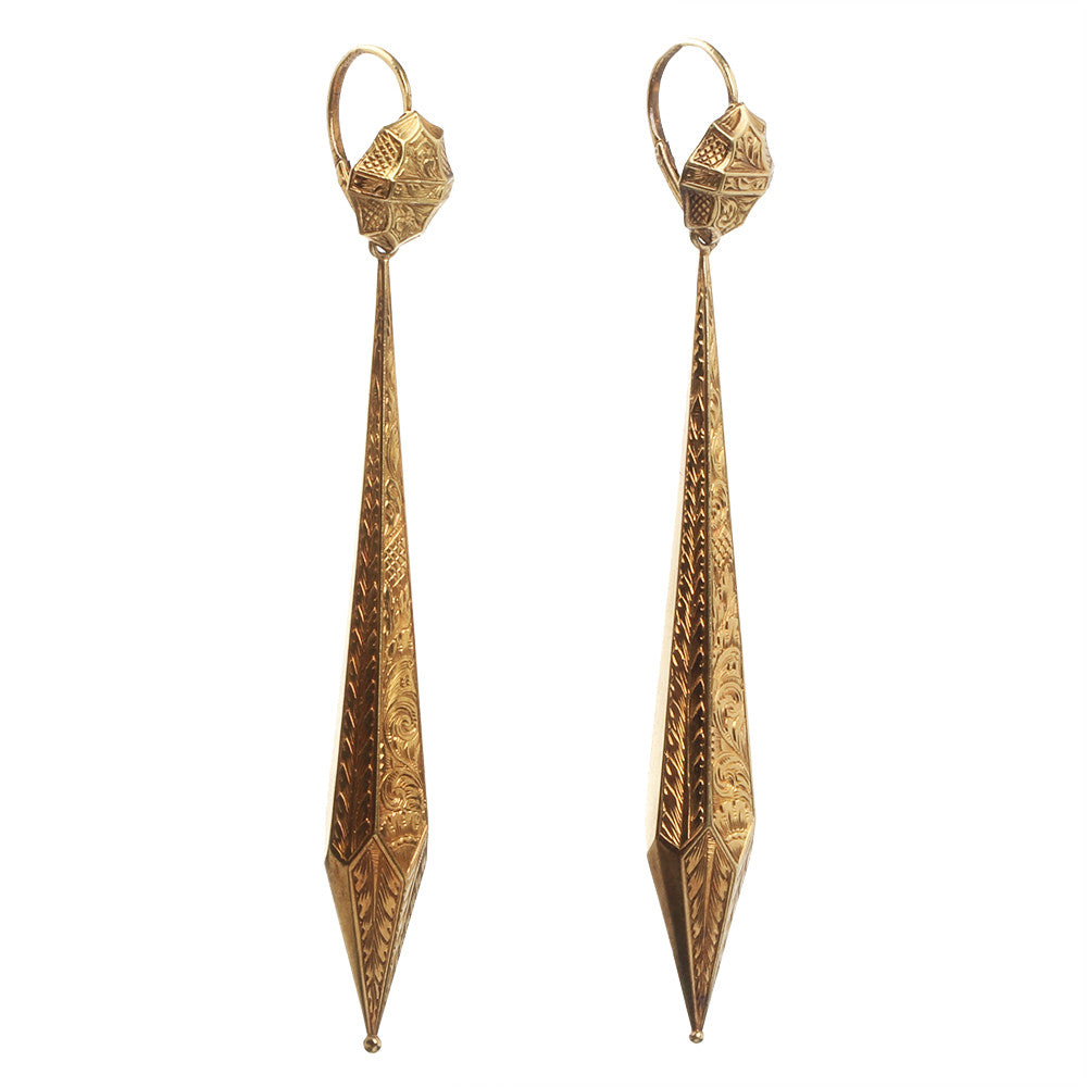 Georgian Era Torpedo Gold Earrings