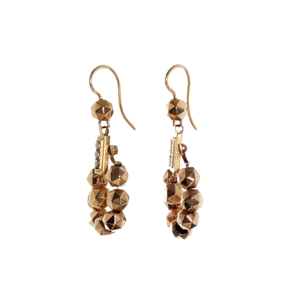 Victorian Rose Gold Faceted ball Earrings