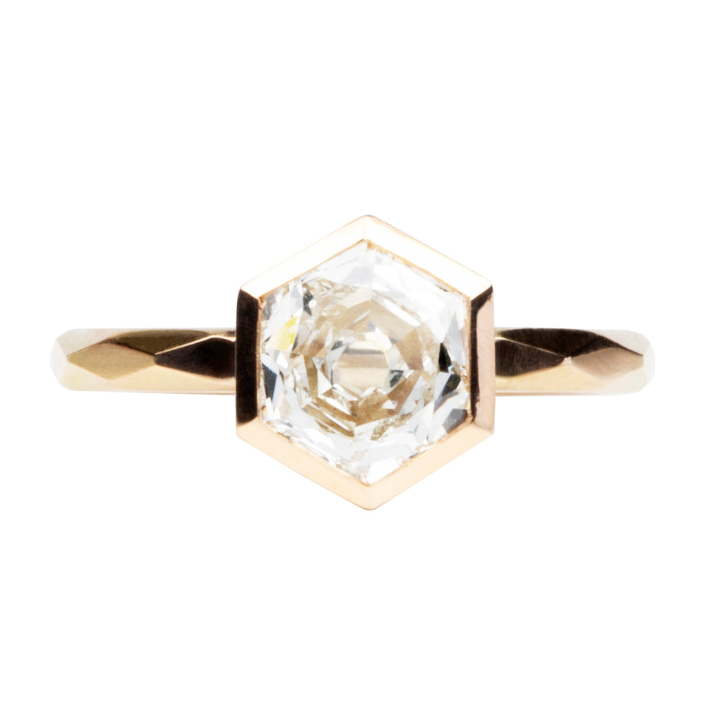 Bezel Set Hexagon Solitaire on Faceted Band