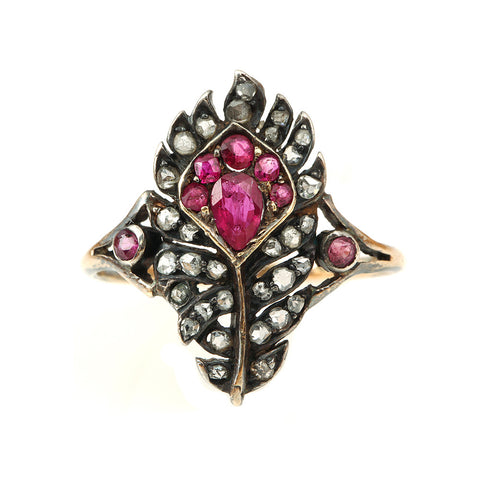 19th Century Ruby and Diamond Feather Ring