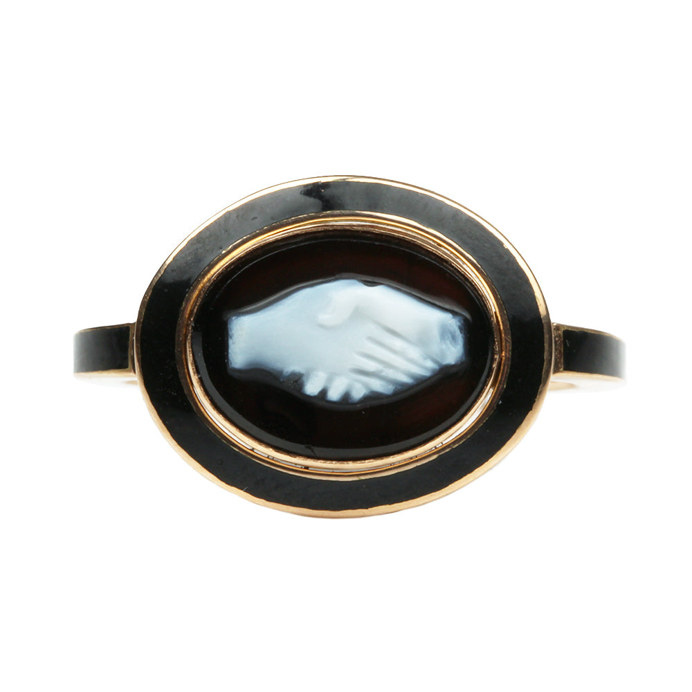 Custom Black Enamel Fede Cameo Ring