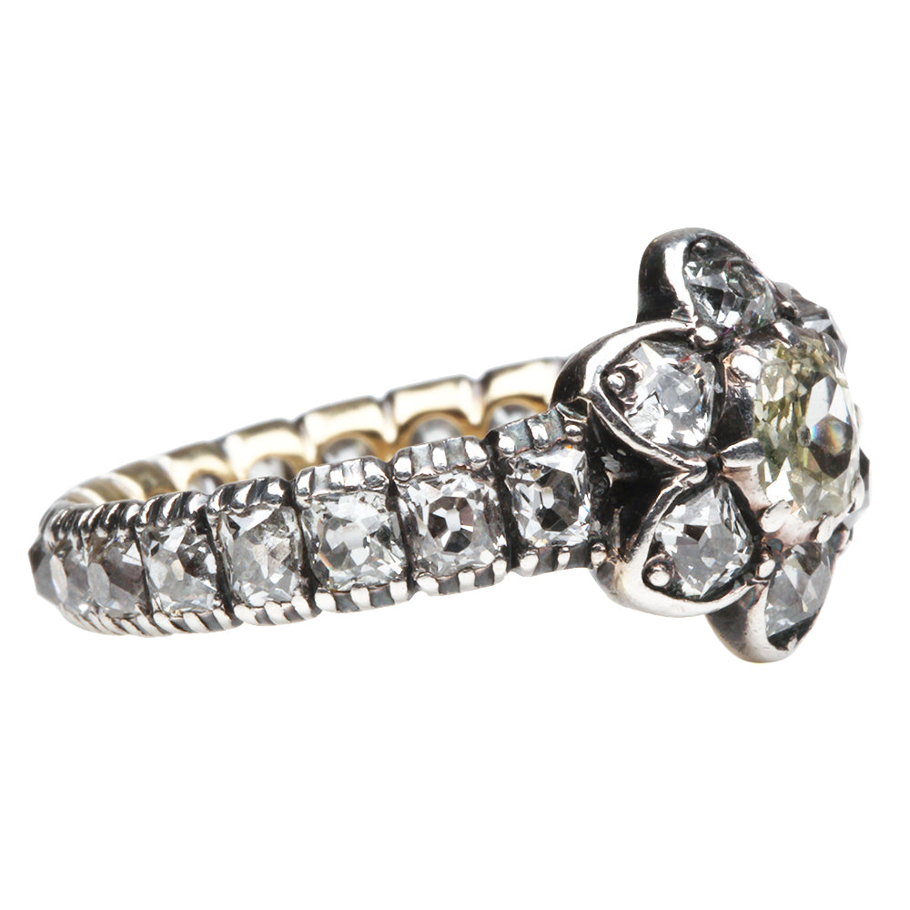 Victorian Old Mine Cut Cluster Eternity Band