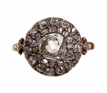 Georgian Old Mine Cut Diamond Cluster Ring