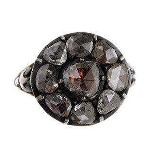 Early Georgian Rose Cut Diamond Cluster Ring
