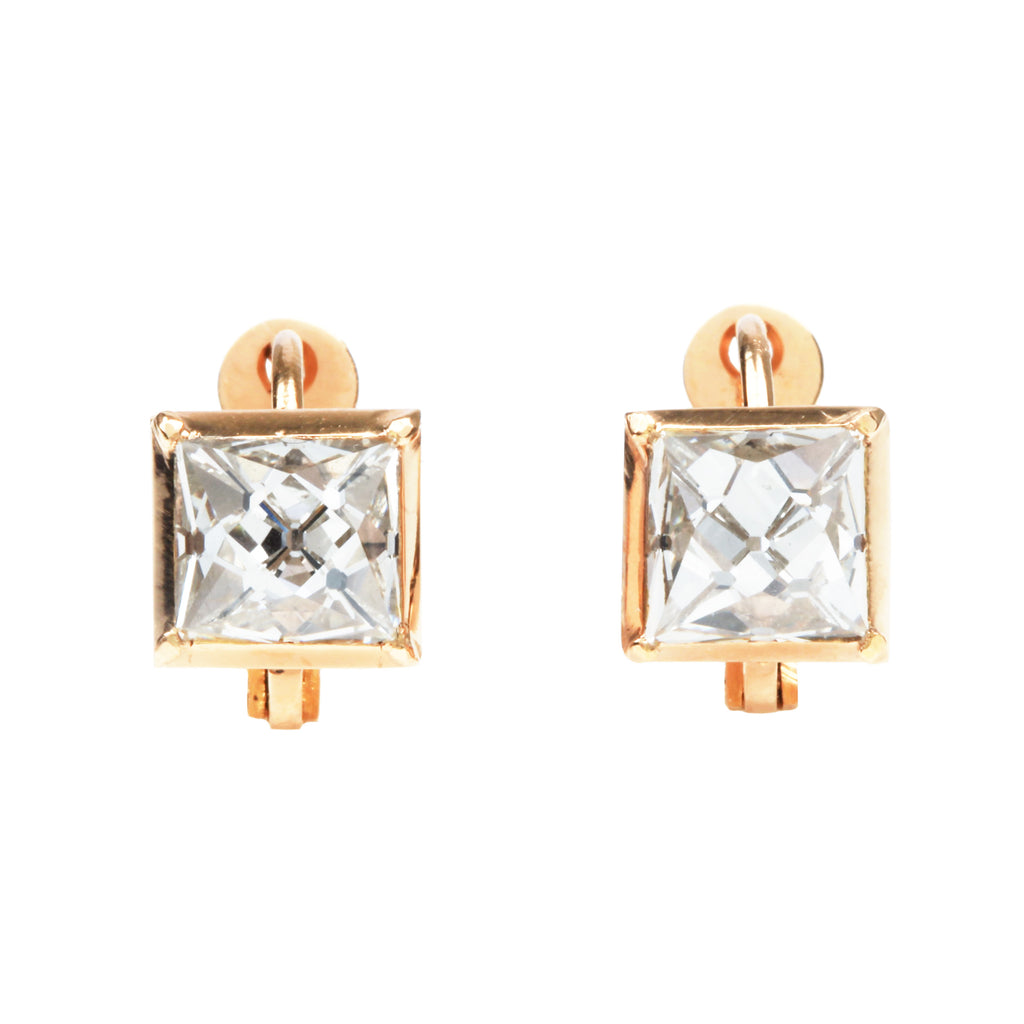 Custom 3.30 Carat Antique French Cut Diamond Earrings