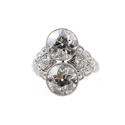 Art Deco Platinum Two Stone Diamond Ring