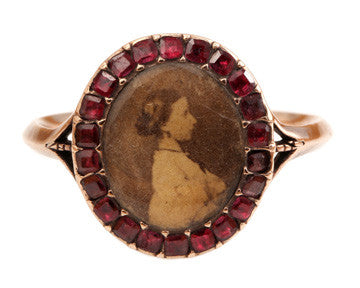 Georgian Garnet Locket Ring