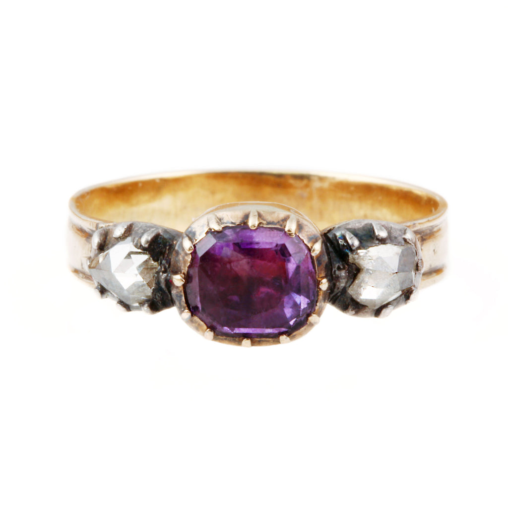 Georgian Amethyst & Diamond Three-Stone Ring