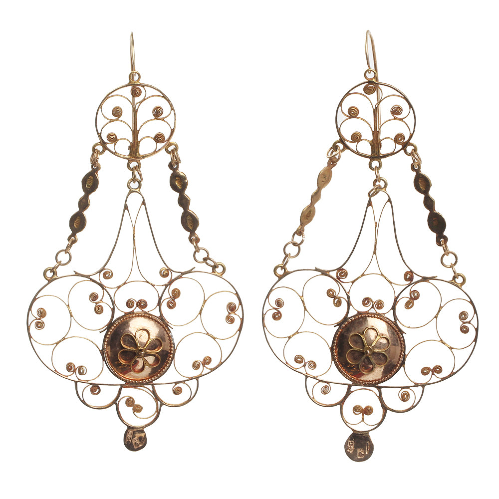 Georgian French Provinicial Gold Earrings