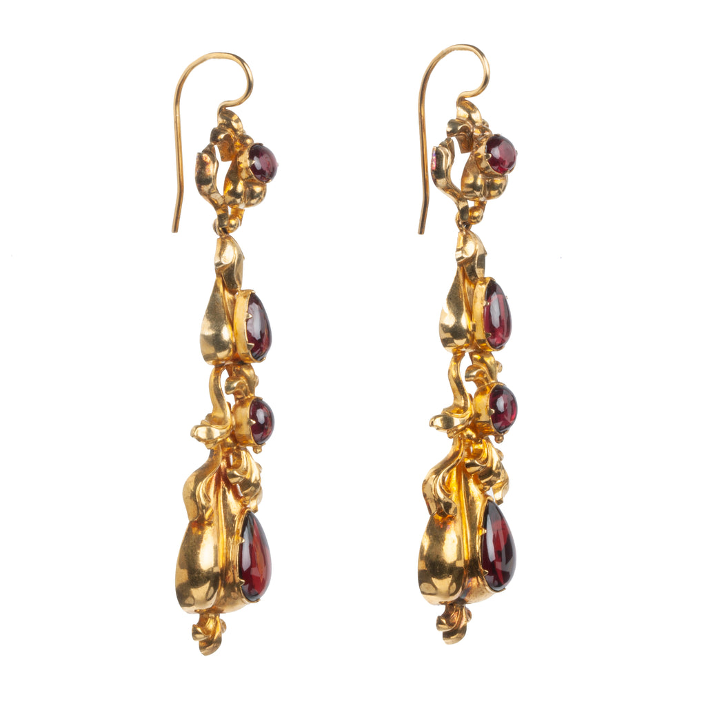 18th Century Garnet Pendant Earrings