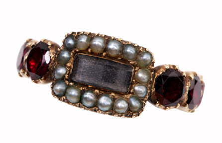 Georgian Garnet and Pearl Remembrance Ring