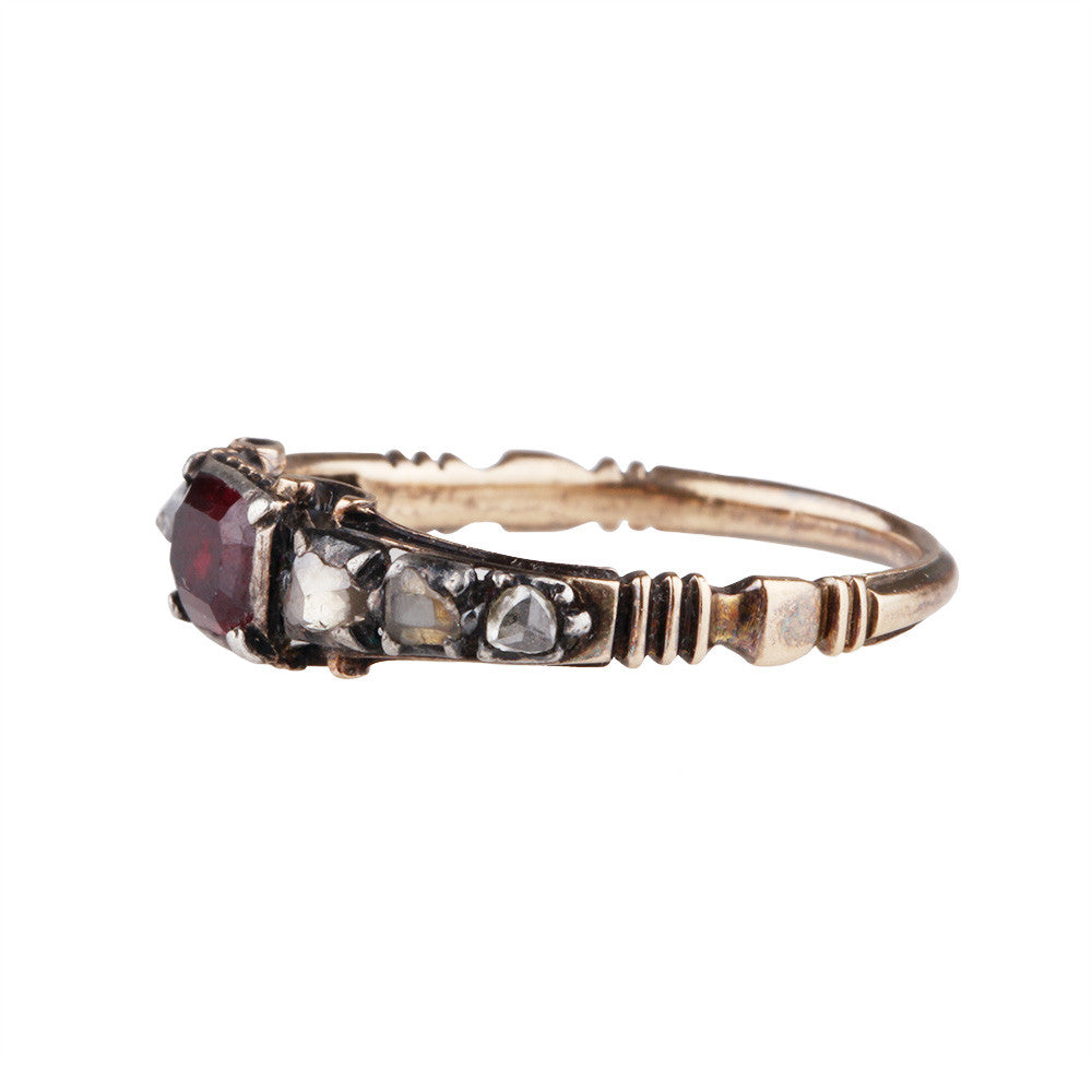 Georgian Garnet & Diamond Ring