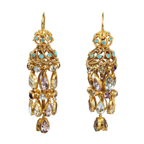 chandelier earrings gem on images multi antique arqrosamaria gold high pinterest best colorful jewellery gemstone