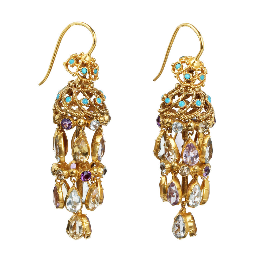 Georgian Era Multi Gemstone Earrings