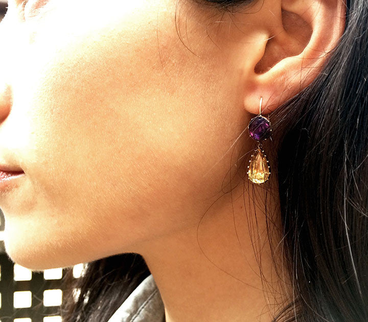 Georgian Amethyst & Topaz Paste Earrings