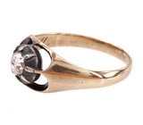 Rose Cut Diamond Ring in Sterling & Gold