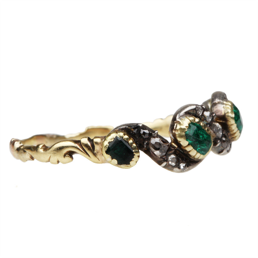 Georgian Era Emerald and Diamond Ring