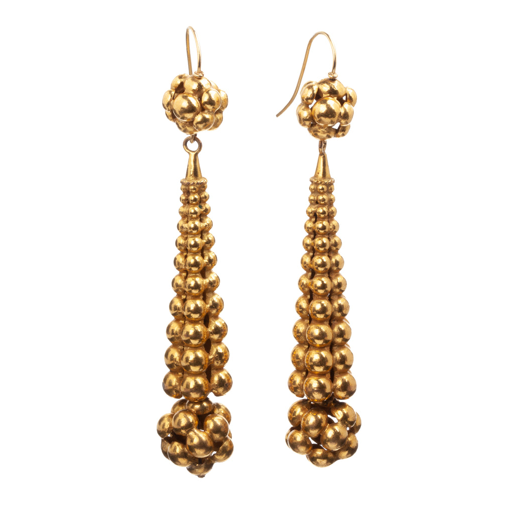 Victorian Era Gilded Torpedo Earrings