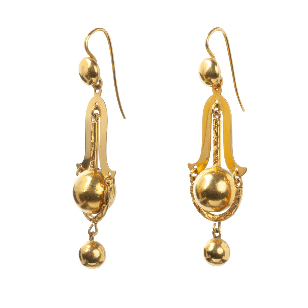Victorian Era Gilded Metal Pendulum Drop Earrings