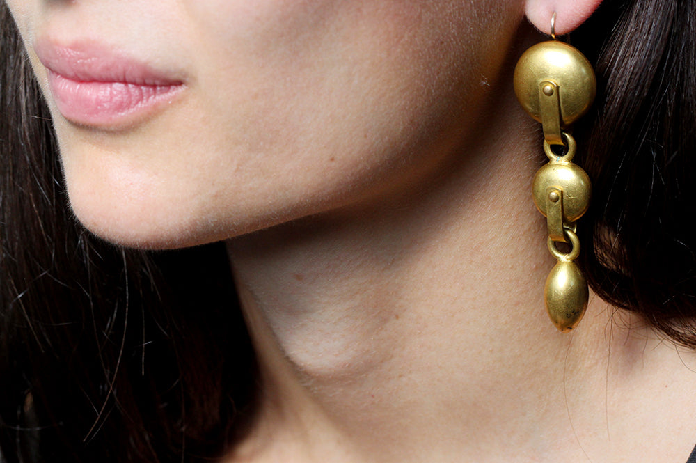 19th Century Gilded Knob Earrings