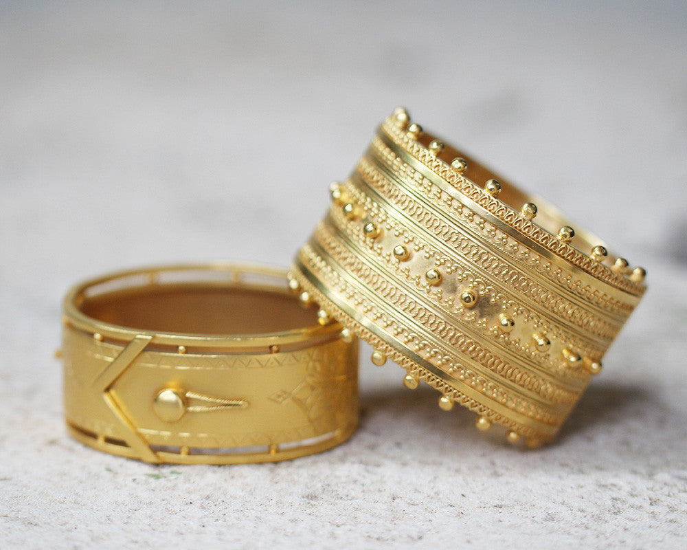 Victorian Estruscan Revival Wide Gilded Bangle