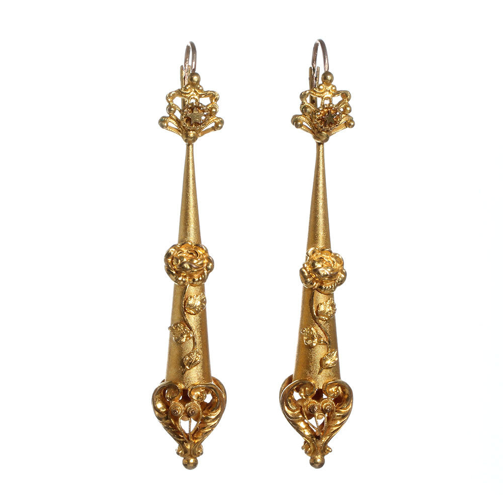 Georgian pinchebck Gold Torpedo Earrings