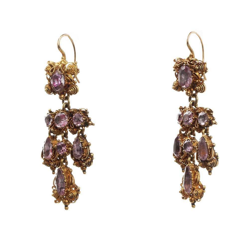19th Century Girandole Pink Topaz Earrings