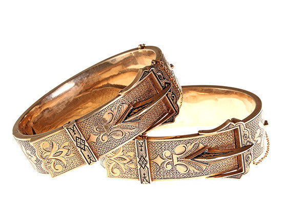 Set of Victorian Gold Buckle Bangles