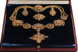 Gold Cannetille Parure in Pink Topaz