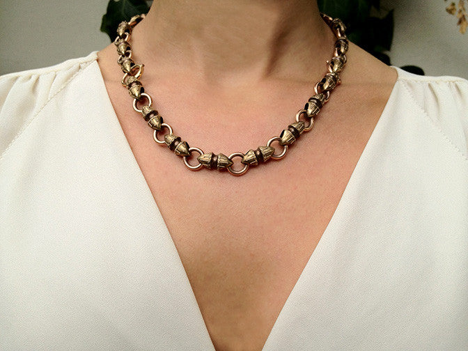 Victorian Etruscan Revival Gold Chain